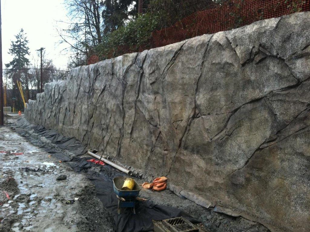 Completed shotcrete wall w/ carved finish