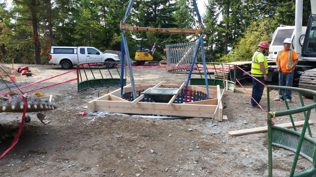Tower foundation shaft awaiting concrete placement