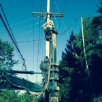 Low overhead drilling installing utility piers