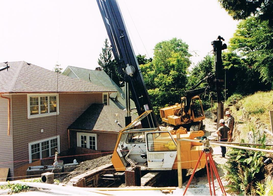 Residential - limited access shoring - DMI Drilling
