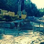Safety rail around 10 ft shaft excavation