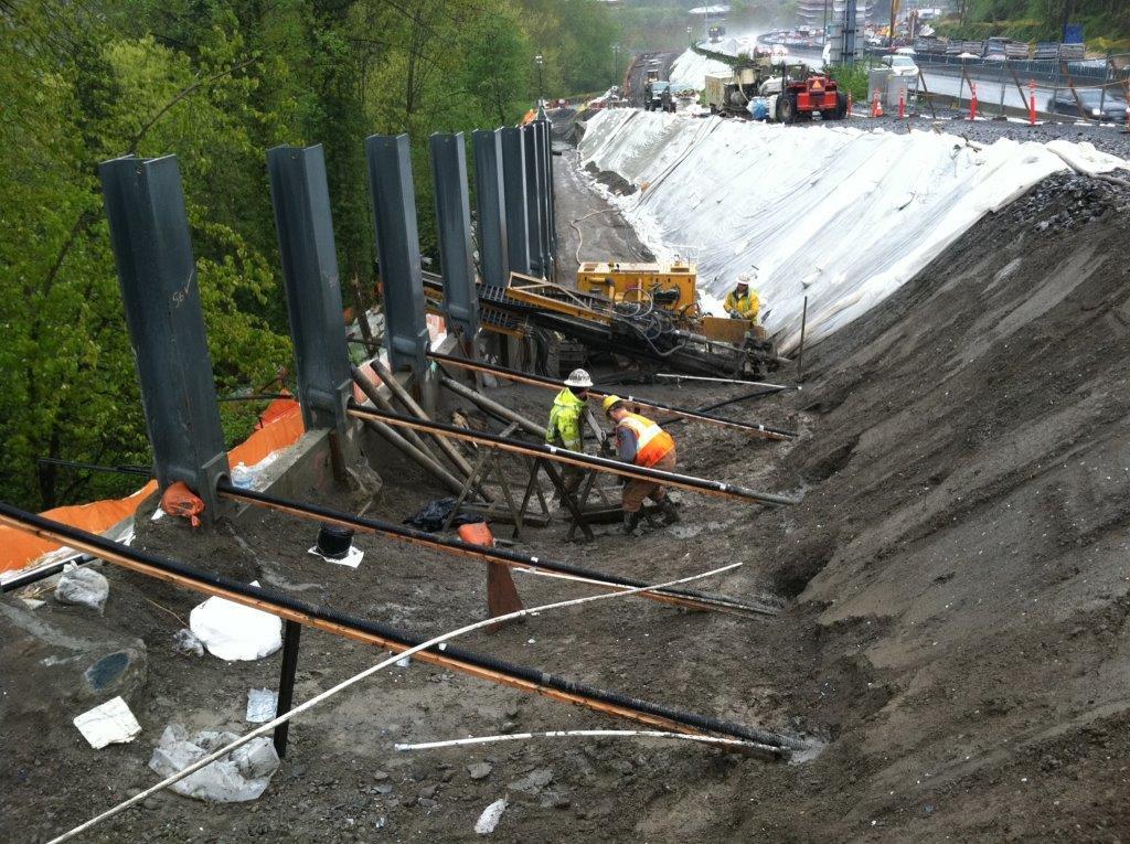 Tieback Installation - Behind Soldier Piles