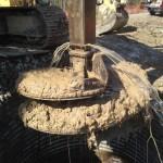 Underwater shaft install utilizing engineered polymer slurry