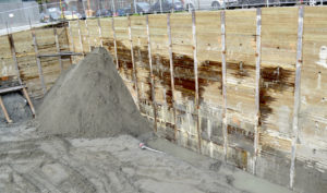 Large shoring wall Downtown Seattle